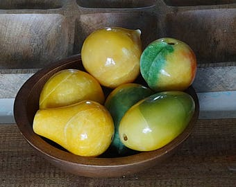 Stone Fruit Alabaster Fruit Marble Fruit Peach Mango Pear Apple 6 Pieces Lot