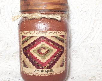 Grungy Jar Candle - Amish Quilt
