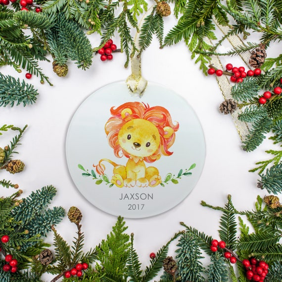 Personalized baby christmas ornament lion ornament watercolor il570xn negle Choice Image
