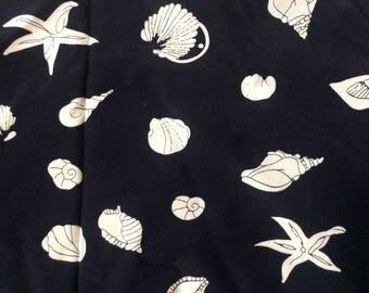 Vintage Rayon Fabric, Dark Navy Blue with White Seashells 1+ yards