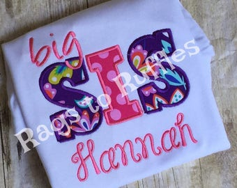 Personalized Big Sister Shirt or Middle Sister Shirt - Monogrammed Big Sis Shirt - Middle Sis Shirt