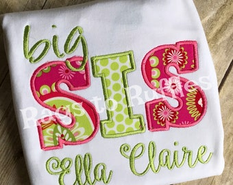 Personalized Big Sister Shirt- Monogrammed Big Sis Shirt - Little Sister Shirt