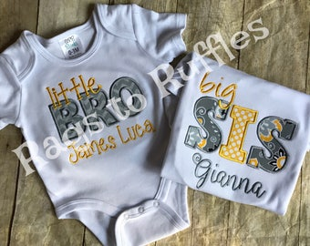 Big Sister Personalized Shirt- Big Sis Monogrammed Shirt- Little  Brother Personalized Shirt