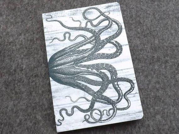 Tentacles Gift Notebook felt blank artist sketch book memo pad notepad journal note goth kraken cthulhu octopus sea ocean nautical coastal