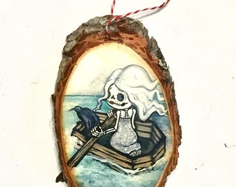 Coffin Dead skeleton girl tree Ornament Wooden Handmade Tree Decoration Forest Decoration