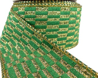 """3 Rolls Of Checkered Emerald Green & Gold Wired Ribbon  2.5"""" Wide"""