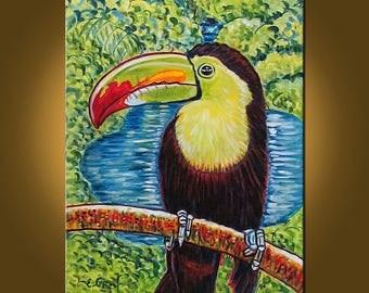 Toucan in His World -- 16 x 20 inch original oil painting by Elizabeth Graf -- Art Painting, Art & Collectibles