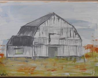 soft Fall barn - acrylic on canvas 12 x 16
