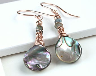 Abalone  Earrings Rose  Gold Jewelry Shell  Gold Earrings  Rainbow  Mop  Jewelry Paua Jewelry Gifts For Women Wire Wrapped