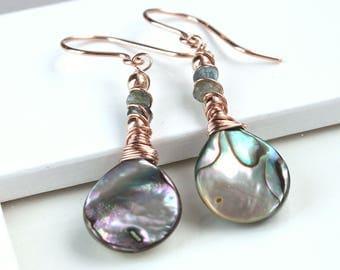 Abalone  Earrings Rose  Gold Jewelry Shell  Gold Earrings  Rainbow  Mop  Jewelry Paua Jewelry Gifts For Women