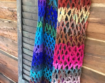 Spectacular hand knit scarf, shawl, wrap, beautiful colors, soft wool