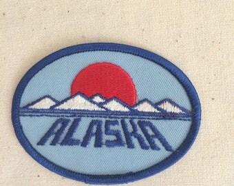 Vintage USA Travel Patch Badge Applique Alaska Denali Mount McKinley Alaska US