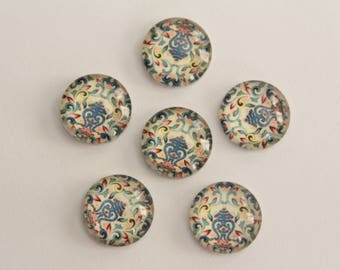 Glass Cabochons - Multi Color Flourish Design . 12mm (6)