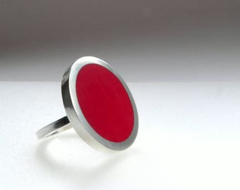Big Round Red Ring - Statement Red Rings - Large Ring - Flat ring - One Inch Silver Ring - Pop Ring