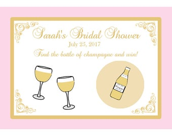 80 Personalized Bridal Shower Scratch Off Game Cards - Champagne Bridal Shower - Blush Pink