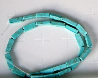 """ON SALE 50% OFF Imitation Square Tube Turquoise Beads, 13x4mm, 15"""" strand"""