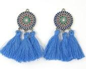 Blue Tassel Earring Findings, Blue Medallion Earring Dangles, Blue Silver Flower Earring Parts for DIY Jewelry |B6-12|2