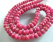 9 Inches of Raspberry Pink Ruby Faceted Rondelles Larger size 5mm-6mm Precious Gemstone Beads