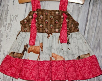 Going out of business SALE, Horse dress, western dress, baby girls knot dress ,size 0-3M girls dress, Ready to ship