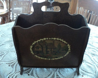 Vintage Rustic--All Wood--Magazine Rack With Cottage Picture on Side
