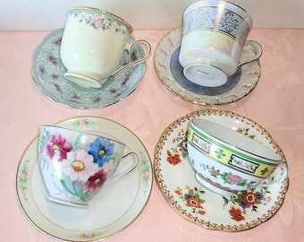 Four Cup and Saucer Sets Mismatched Tea Coffee Mixed Porcelain Lenox England Japan Roses Floral Gold