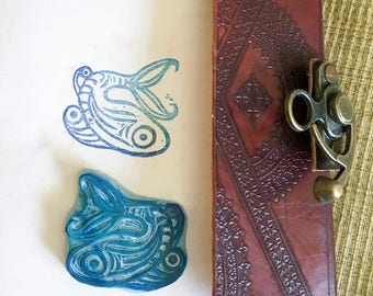 fancy fish handcarved stamp