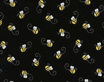 Beeloved/You Are My Sunshine-Bees on Black-TIMELESS TREASURES- Cotton Fabric- Quilt- Bee -Apparel-WindyRobinCotton- *Sold by half yard.