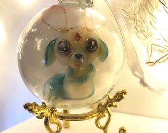 Glass ornament with Wee Creature Puppy Buck art print inside - stand not included
