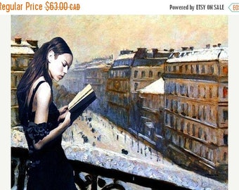 HUGE SUMMER SALE 40% off Reading Gustave Caillebotte....8.5 x 11 limited edition archival print.