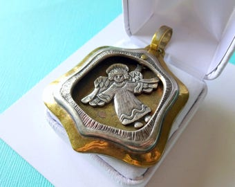 Jeep Collins Sterling Silver and Brss Shadowbox Floating Angel Pendant