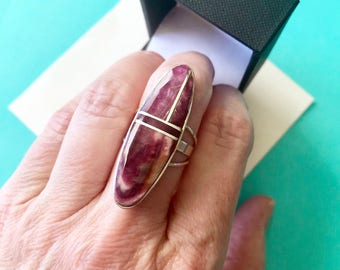 Navajo Harold Smith Purple Spiny Oyster & Sterling Inlay Ring Size 7.5
