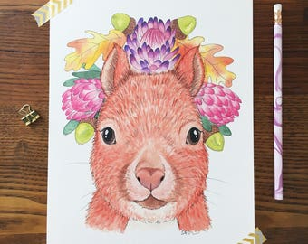 Squirrel Art. Watercolor Squirrel. Squirrel Painting. Boho Nursery. Animal Nursery Art. 8 x 10 Print. Flower Crowns. Children's Decor