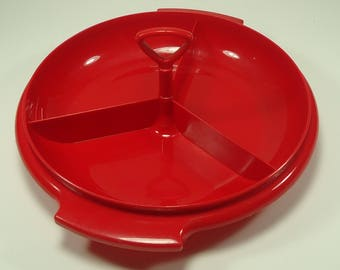 Tupperware Red And White Suzette Three Section Divided Tray With Lid And Handle