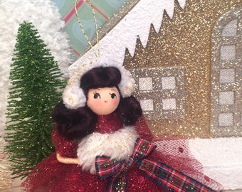 Christmas ornament christmas doll red and white vintage retro inspired holiday decor holiday doll red and gold
