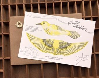 letterpress pop-out yellow warbler card