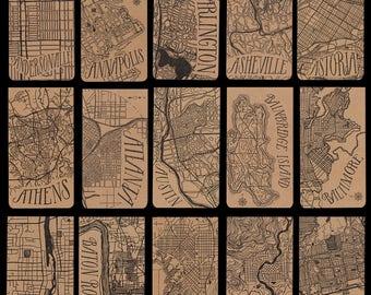 Cities A-G city map letterpress notepad