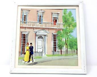 7x7 Vintage Square Mary Poppins Beautiful Cherry Tree Lane Print Illustration. Nursery Book Plate  Vintage Disney Print
