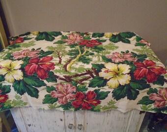 "Piece of barkcloth fabric , material, red, pink, yellow tropical flowers / hibiscus flower barkcloth / 30 x 46 "" barkcloth Hawaiian theme"