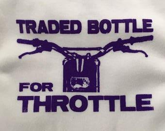 Last in stock!! Purple Hardcore Baby Motorcycle Dirt Bike Traded Bottle for Throttle Onesie Bodysuit Tshirts