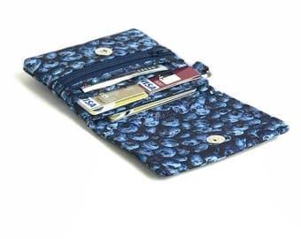 Blueberry wallet. teen tween gift. navy fabric coin purse card organizer. cute ladies credit card holder. small vegan slim