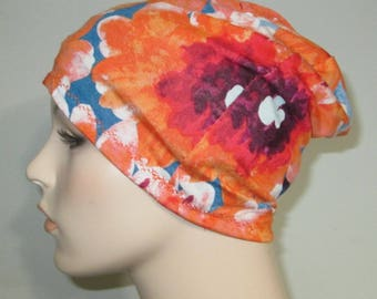 Chemo Hat Lycra Beanie Orange and Blue  Play Sleep Cap, Cancer Hat, Alopecia