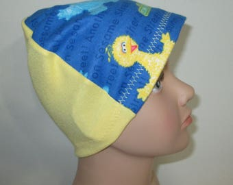 Kids Sesame Street Big Bird  Flannel Chemo Hat, Kid's  Cancer Cap, Alopecia, Sleep Cap