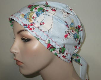 Scrub Cap  Chemo Hat Old Fashioned Santa Cancer Hat, Hijab, Alopecia Turban Pediatric Nurses Hat