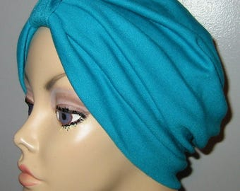 Teal Stretch   Knit Turban, Chemo Hat, Snood, Womens Hat