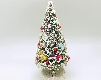 Vintage Christmas Decoration Bottle Brush Tree Glass Balls Christmas Village