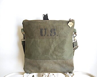Recycled military canvas crossbody, iPad flat bag - U.S. ombre olive - eco vintage fabrics