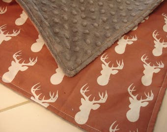 Brown Deer Head with Jade Green Minky Baby Burp Cloth 14 x 14 READY TO SHIP