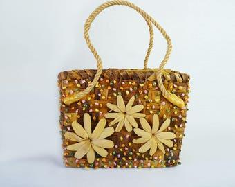 Vintage Raffia Bag Floral Basketweave Handbag Tote