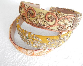 Beaded embroidered fabric headbands for women,  1 inch headbands
