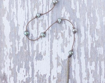 """green pearl """"Y"""" / handspun knotted rope necklace / waterproof / life-proof / island jewelry / minimalist beauty / tula blue"""